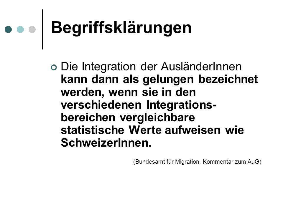 Begriffsklärungen Die Integration der AusländerInnen kann dann als gelungen bezeichnet werden, wenn sie in den verschiedenen Integrations- bereichen vergleichbare statistische Werte aufweisen wie SchweizerInnen.