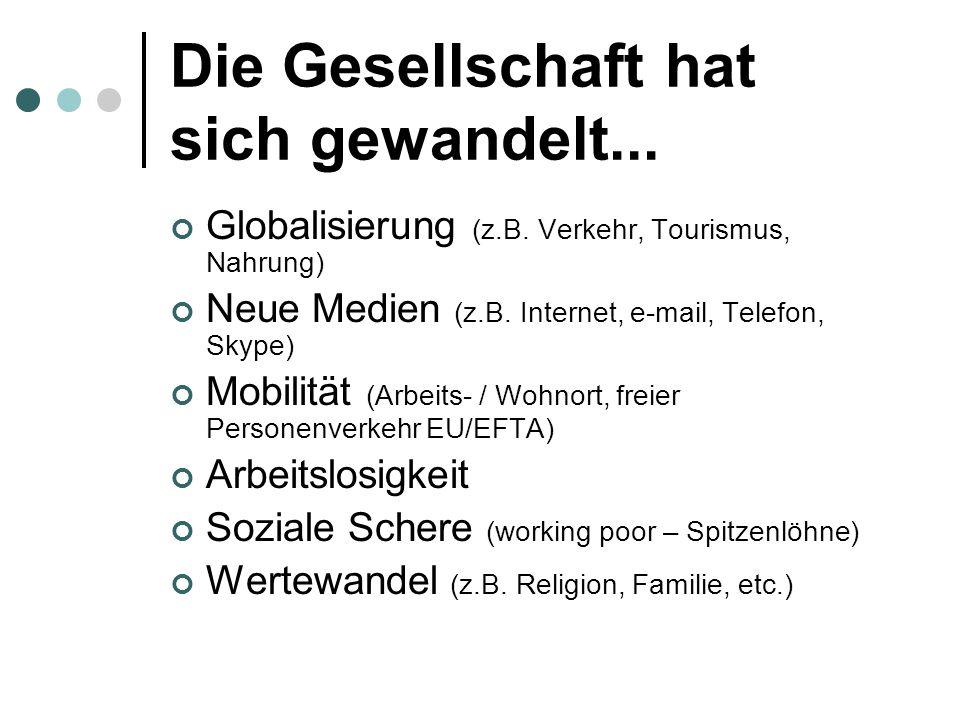 Die Gesellschaft hat sich gewandelt...Globalisierung (z.B.