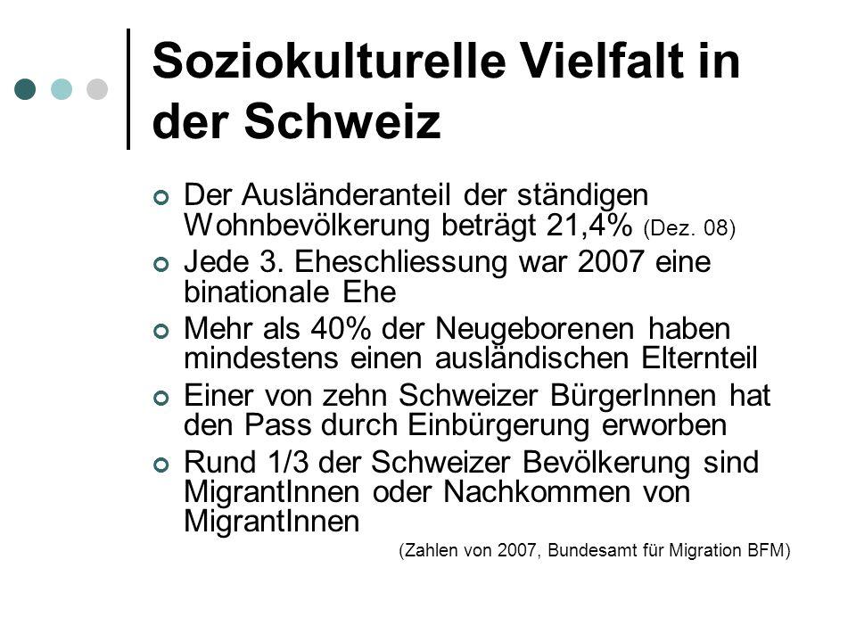 Soziokulturelle Vielfalt in der Schweiz Der Ausländeranteil der ständigen Wohnbevölkerung beträgt 21,4% (Dez.