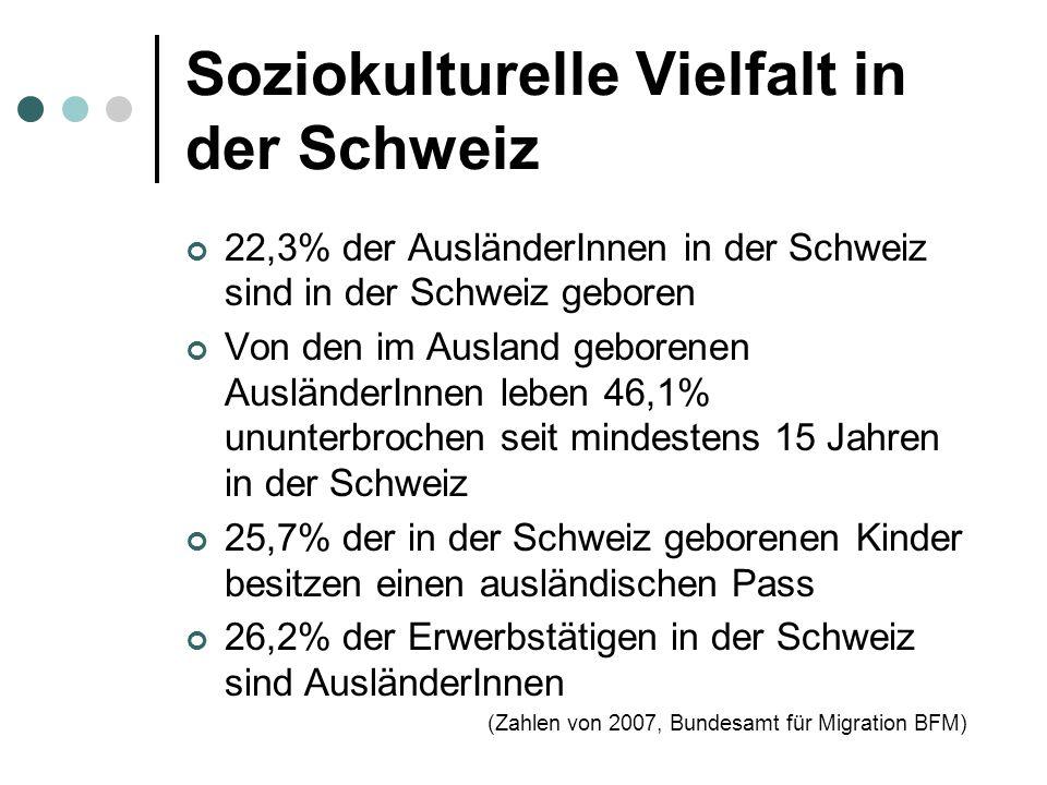 Soziokulturelle Vielfalt in der Schweiz 22,3% der AusländerInnen in der Schweiz sind in der Schweiz geboren Von den im Ausland geborenen AusländerInnen leben 46,1% ununterbrochen seit mindestens 15 Jahren in der Schweiz 25,7% der in der Schweiz geborenen Kinder besitzen einen ausländischen Pass 26,2% der Erwerbstätigen in der Schweiz sind AusländerInnen (Zahlen von 2007, Bundesamt für Migration BFM)