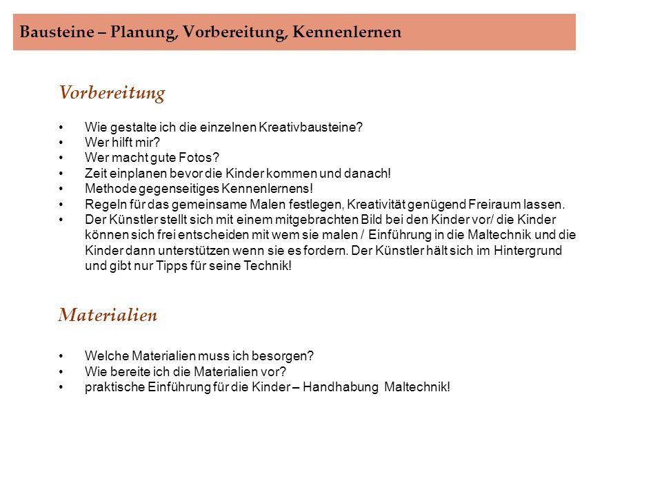 Bausteine – Planung, Vorbereitung, Kennenlernen.