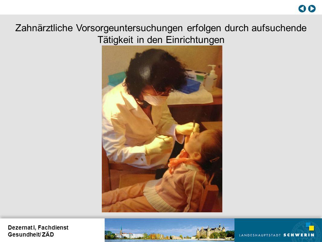 Dezernat I, Fachdienst Gesundheit/ ZÄD Zahnärztliche Vorsorgeuntersuchungen erfolgen durch aufsuchende Tätigkeit in den Einrichtungen