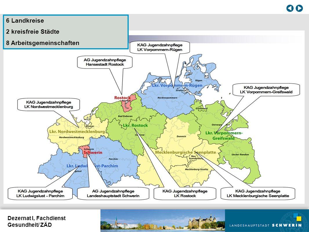 Dezernat I, Fachdienst Gesundheit/ ZÄD 6 Landkreise 2 kreisfreie Städte 8 Arbeitsgemeinschaften