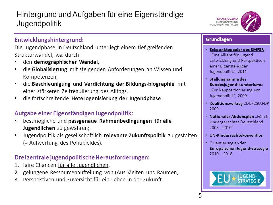 Hintergrund und Aufgaben für eine Eigenständige Jugendpolitik Entwicklungshintergrund: Die Jugendphase in Deutschland unterliegt einem tief greifenden
