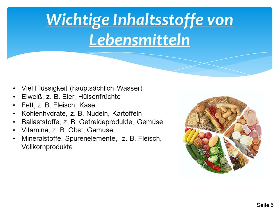 Wichtige Inhaltsstoffe von Lebensmitteln Viel Flüssigkeit (hauptsächlich Wasser) Eiweiß, z. B. Eier, Hülsenfrüchte Fett, z. B. Fleisch, Käse Kohlenhyd