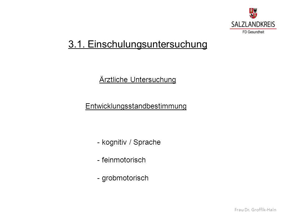3.1. Einschulungsuntersuchung Ärztliche Untersuchung Entwicklungsstandbestimmung - kognitiv / Sprache - feinmotorisch - grobmotorisch Frau Dr. Groffik