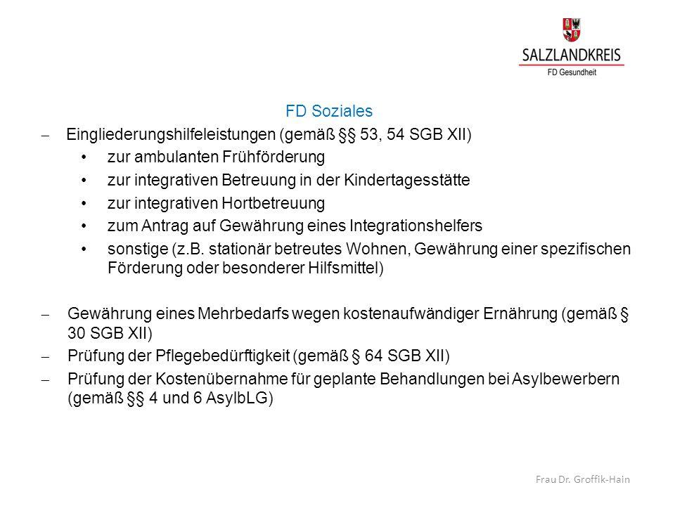 FD Soziales  Eingliederungshilfeleistungen (gemäß §§ 53, 54 SGB XII) zur ambulanten Frühförderung zur integrativen Betreuung in der Kindertagesstätte