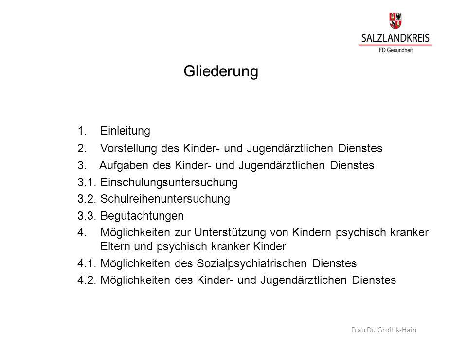 Gliederung 1. Einleitung 2. Vorstellung des Kinder- und Jugendärztlichen Dienstes 3. Aufgaben des Kinder- und Jugendärztlichen Dienstes 3.1. Einschulu