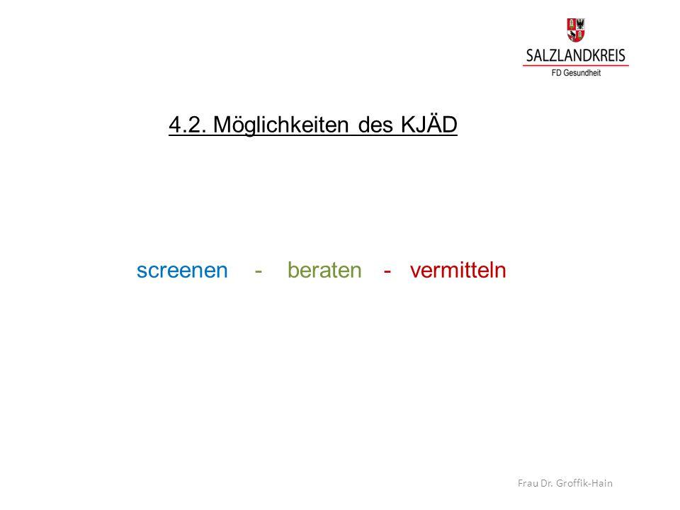 4.2. Möglichkeiten des KJÄD screenen - beraten - vermitteln Frau Dr. Groffik-Hain