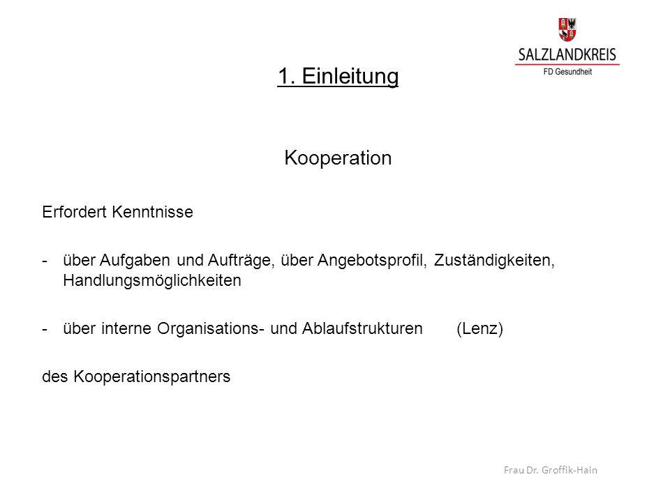 1. Einleitung Kooperation Erfordert Kenntnisse -über Aufgaben und Aufträge, über Angebotsprofil, Zuständigkeiten, Handlungsmöglichkeiten -über interne