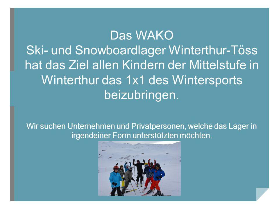 Das WAKO Ski- und Snowboardlager Winterthur-Töss hat das Ziel allen Kindern der Mittelstufe in Winterthur das 1x1 des Wintersports beizubringen.