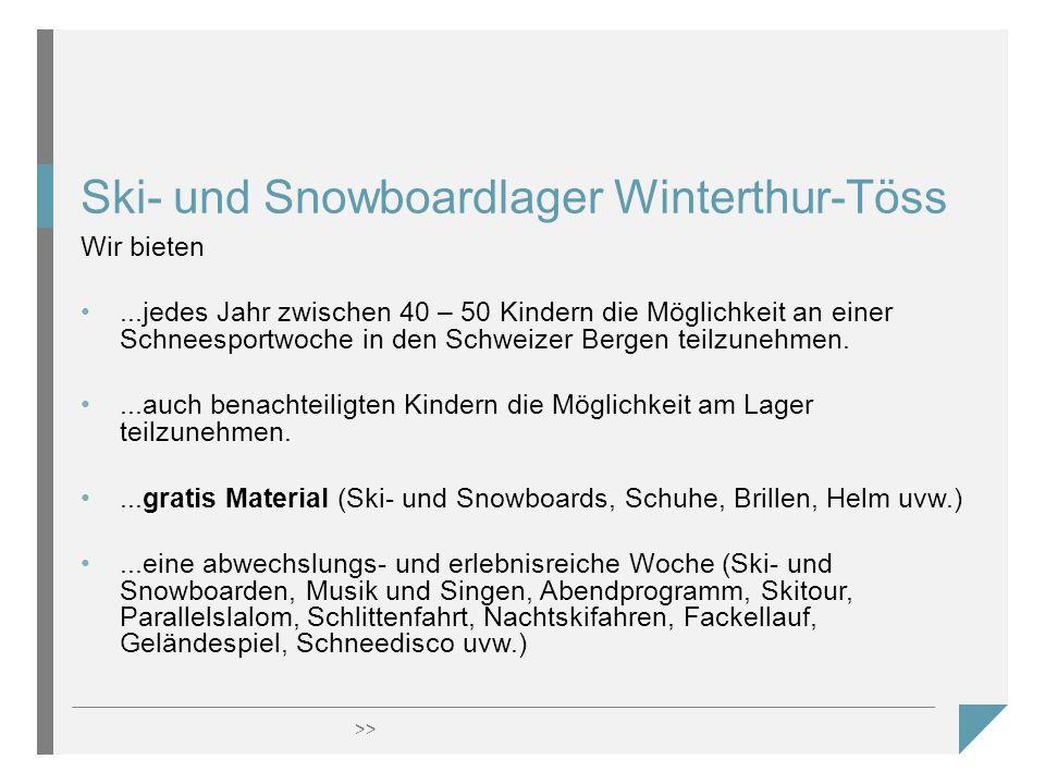 >> Ski- und Snowboardlager Winterthur-Töss Wir bieten...jedes Jahr zwischen 40 – 50 Kindern die Möglichkeit an einer Schneesportwoche in den Schweizer Bergen teilzunehmen....auch benachteiligten Kindern die Möglichkeit am Lager teilzunehmen....gratis Material (Ski- und Snowboards, Schuhe, Brillen, Helm uvw.)...eine abwechslungs- und erlebnisreiche Woche (Ski- und Snowboarden, Musik und Singen, Abendprogramm, Skitour, Parallelslalom, Schlittenfahrt, Nachtskifahren, Fackellauf, Geländespiel, Schneedisco uvw.)