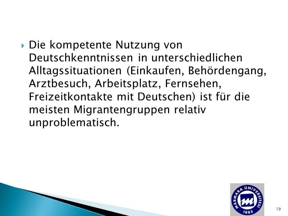  Die kompetente Nutzung von Deutschkenntnissen in unterschiedlichen Alltagssituationen (Einkaufen, Behördengang, Arztbesuch, Arbeitsplatz, Fernsehen,