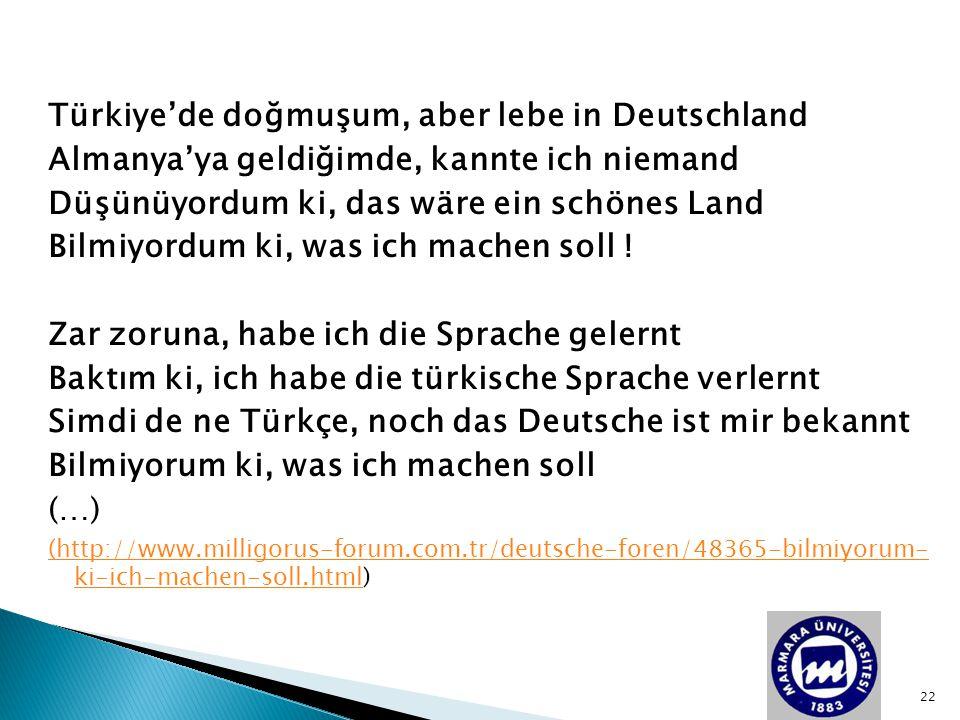 Türkiye'de doğmuşum, aber lebe in Deutschland Almanya'ya geldiğimde, kannte ich niemand Düşünüyordum ki, das wäre ein schönes Land Bilmiyordum ki, was