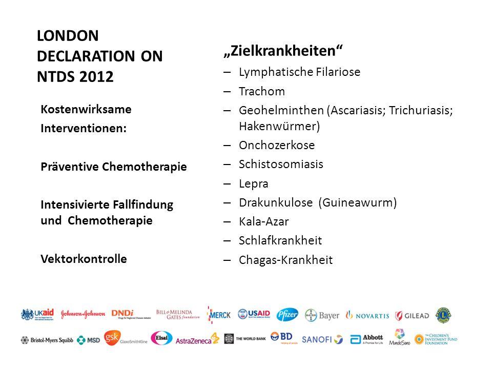 """LONDON DECLARATION ON NTDS 2012 """"Zielkrankheiten"""" – Lymphatische Filariose – Trachom – Geohelminthen (Ascariasis; Trichuriasis; Hakenwürmer) – Onchoze"""