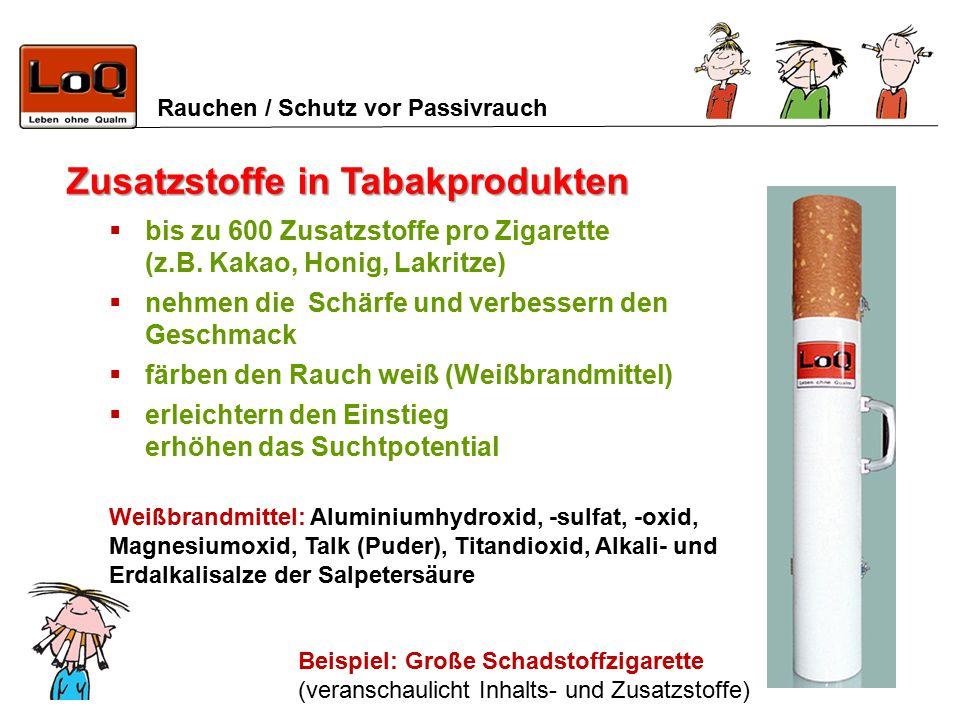 Rauchen / Schutz vor Passivrauch Zusatzstoffe in Tabakprodukten  bis zu 600 Zusatzstoffe pro Zigarette (z.B. Kakao, Honig, Lakritze)  nehmen die Sch