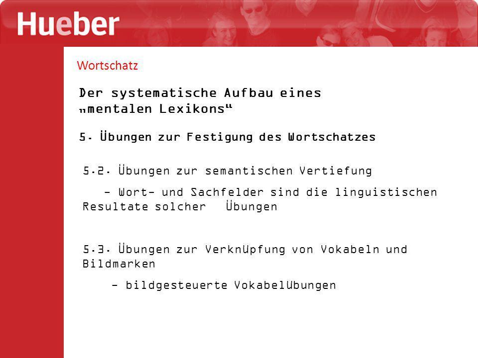 """Wortschatz Der systematische Aufbau eines """"mentalen Lexikons"""" 5. Übungen zur Festigung des Wortschatzes 5.2. Übungen zur semantischen Vertiefung - Wor"""