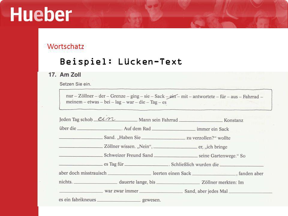 Wortschatz Beispiel: Lücken-Text
