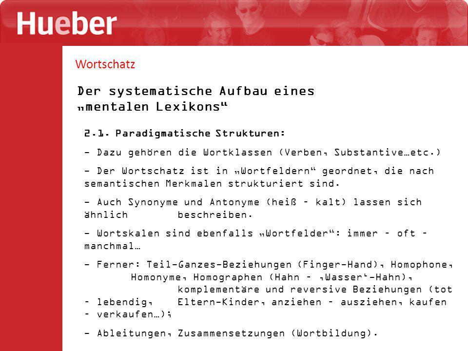 """Wortschatz Der systematische Aufbau eines """"mentalen Lexikons 2.2."""
