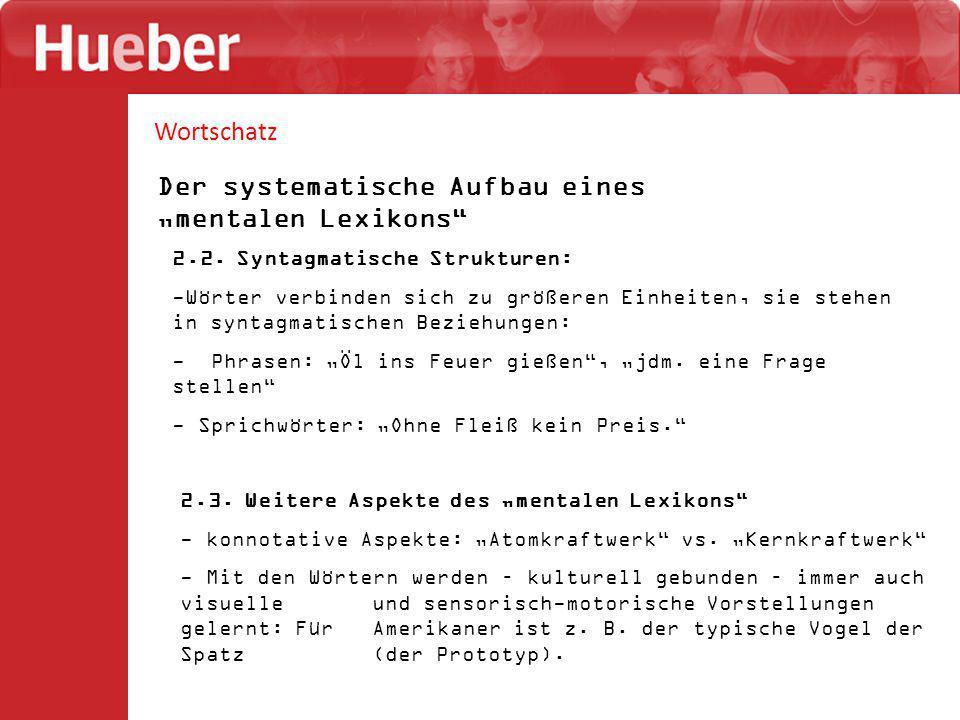 """Wortschatz Der systematische Aufbau eines """"mentalen Lexikons 6."""
