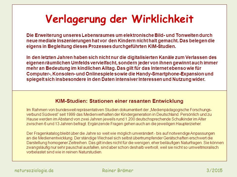 natursoziologie.de Rainer Brämer 3/2015 Verlagerung der Wirklichkeit Die Erweiterung unseres Lebensraumes um elektronische Bild- und Tonwelten durch neue mediale Inszenierungen hat vor den Kindern nicht halt gemacht.