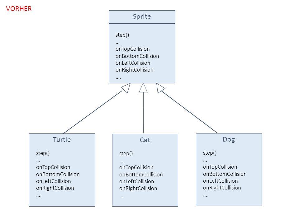 Sprite step() … onTopCollision onBottomCollision onLeftCollision onRightCollision …. Turtle step() … onTopCollision onBottomCollision onLeftCollision