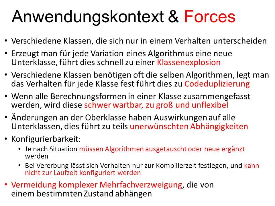 Anwendungskontext & Forces Verschiedene Klassen, die sich nur in einem Verhalten unterscheiden Erzeugt man für jede Variation eines Algorithmus eine n