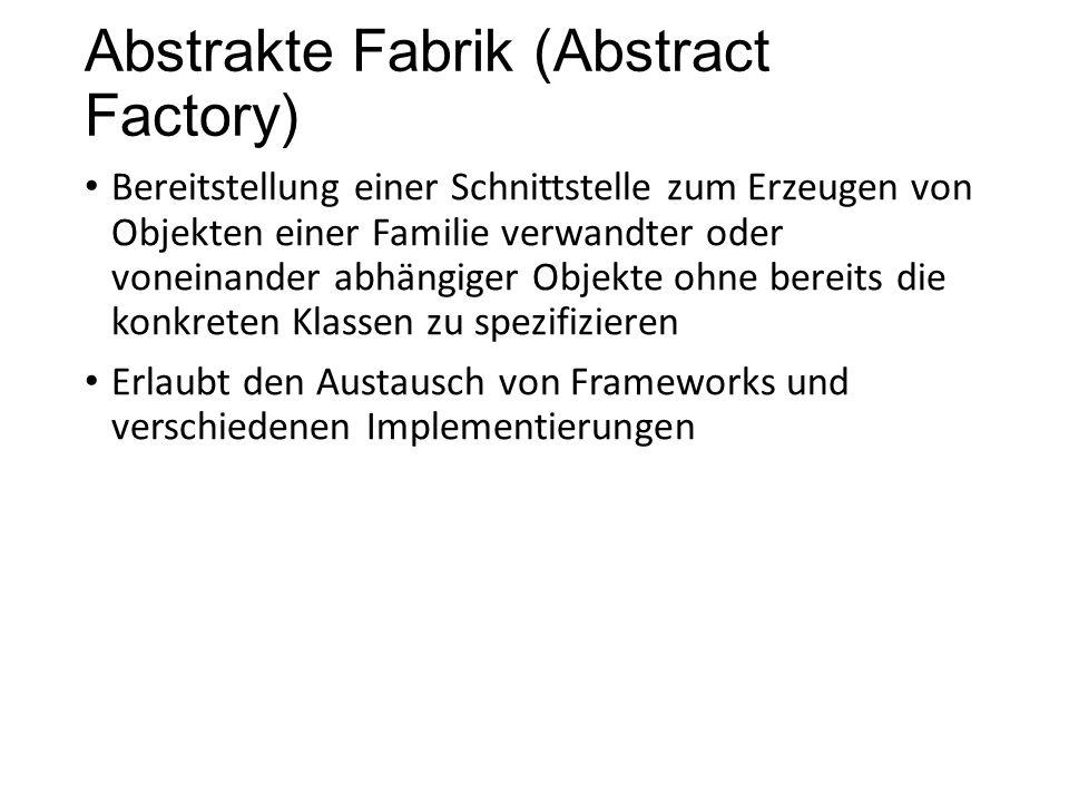 Abstrakte Fabrik (Abstract Factory) Bereitstellung einer Schnittstelle zum Erzeugen von Objekten einer Familie verwandter oder voneinander abhängiger