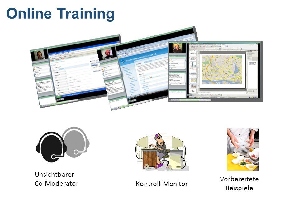 Online Training Unsichtbarer Co-Moderator Kontroll-Monitor Vorbereitete Beispiele