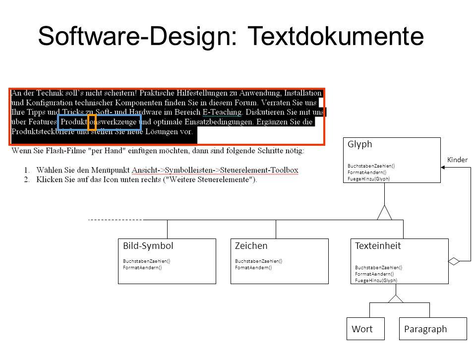 Software-Design: Textdokumente Zeichen BuchstabenZaehlen() FomatAendern() Bild-Symbol BuchstabenZaehlen() FormatAendern() Glyph BuchstabenZaehlen() Fo