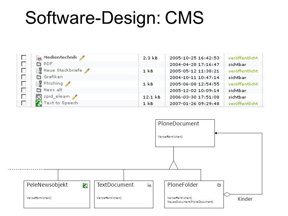 Software Design Patterns Komponente Operation() FuegeHinzu(Komponente) Entferne(Komponente) GibKindobjekt(Schlüssel) Kompositum Operation() FuegeHinzu(Komponente) Entferne(Komponente) GibKindobjekt(Schlüssel) Blatt Operation() Kinder Für alle g in Kinder: g.Operation(); Composite Graphical user interface: Texteditor: Content Management System: