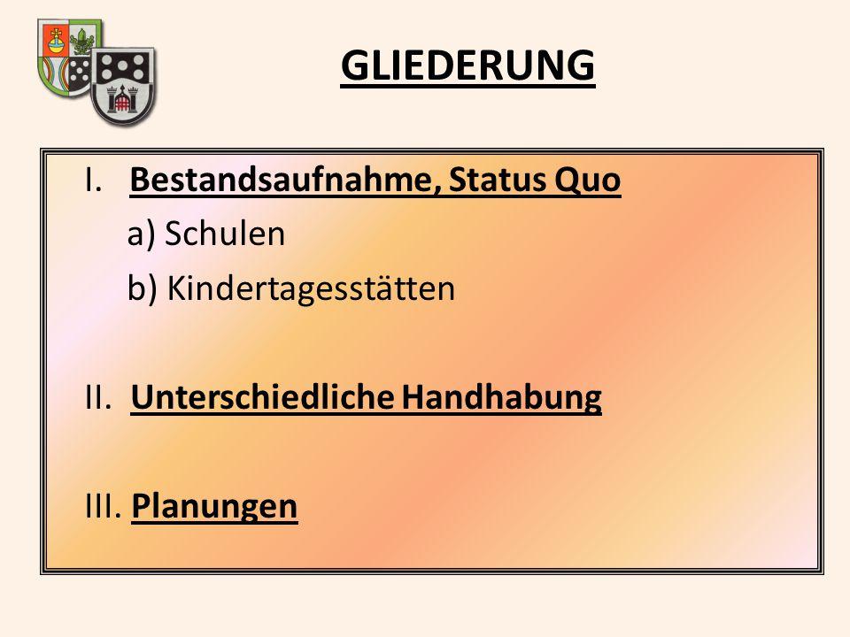 GLIEDERUNG I. Bestandsaufnahme, Status Quo a) Schulen b) Kindertagesstätten II. Unterschiedliche Handhabung III. Planungen