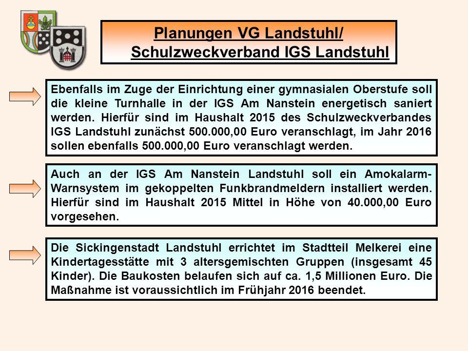 Planungen VG Landstuhl/ Schulzweckverband IGS Landstuhl Ebenfalls im Zuge der Einrichtung einer gymnasialen Oberstufe soll die kleine Turnhalle in der