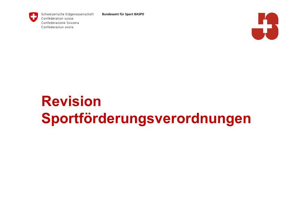 Revision Sportförderungsverordnungen