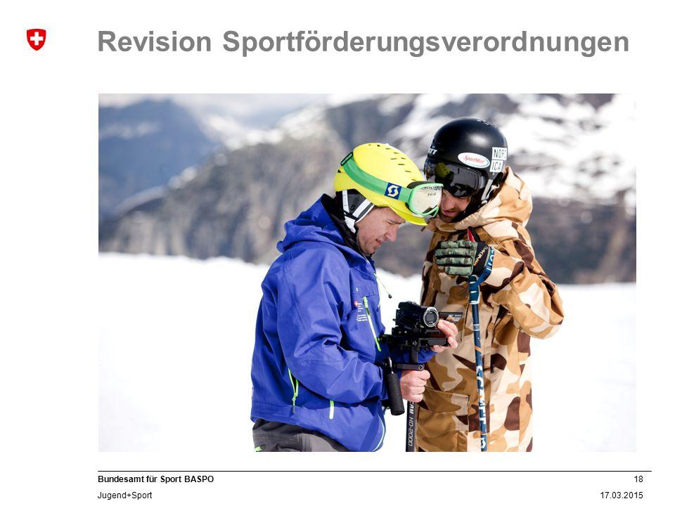 18 17.03.2015 Bundesamt für Sport BASPO Jugend+Sport Revision Sportförderungsverordnungen