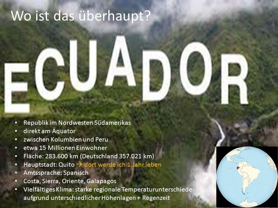 Republik im Nordwesten Südamerikas direkt am Äquator zwischen Kolumbien und Peru etwa 15 Millionen Einwohner Fläche: 283.600 km (Deutschland 357.021 k