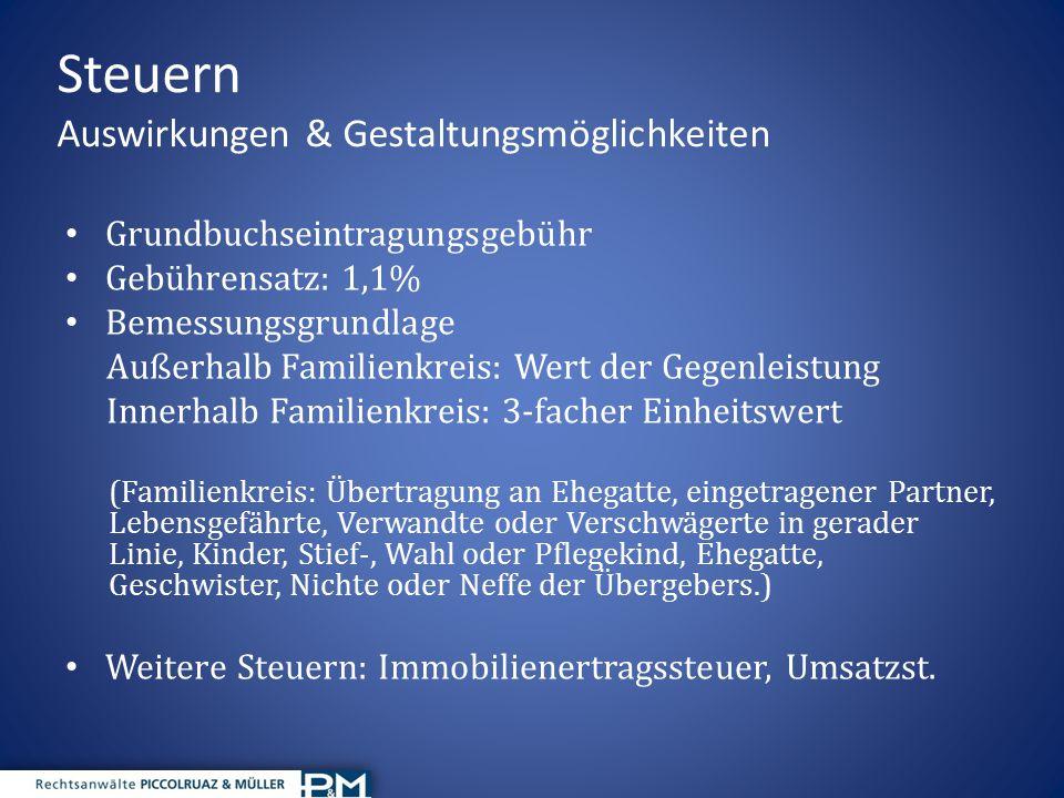 Steuern Auswirkungen & Gestaltungsmöglichkeiten Grundbuchseintragungsgebühr Gebührensatz: 1,1% Bemessungsgrundlage Außerhalb Familienkreis: Wert der G