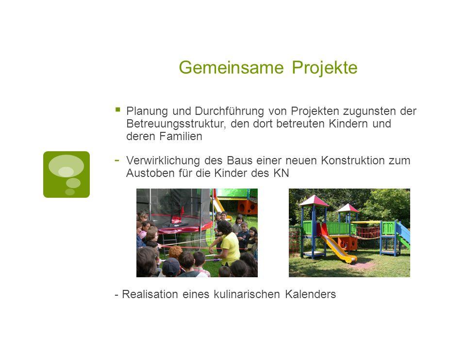 Gemeinsame Projekte  Planung und Durchführung von Projekten zugunsten der Betreuungsstruktur, den dort betreuten Kindern und deren Familien - Verwirk