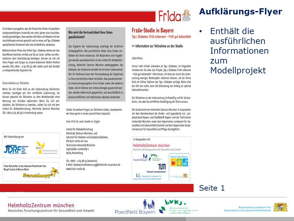 Aufklärungs-Flyer Enthält die ausführlichen Informationen zum Modellprojekt Seite 1