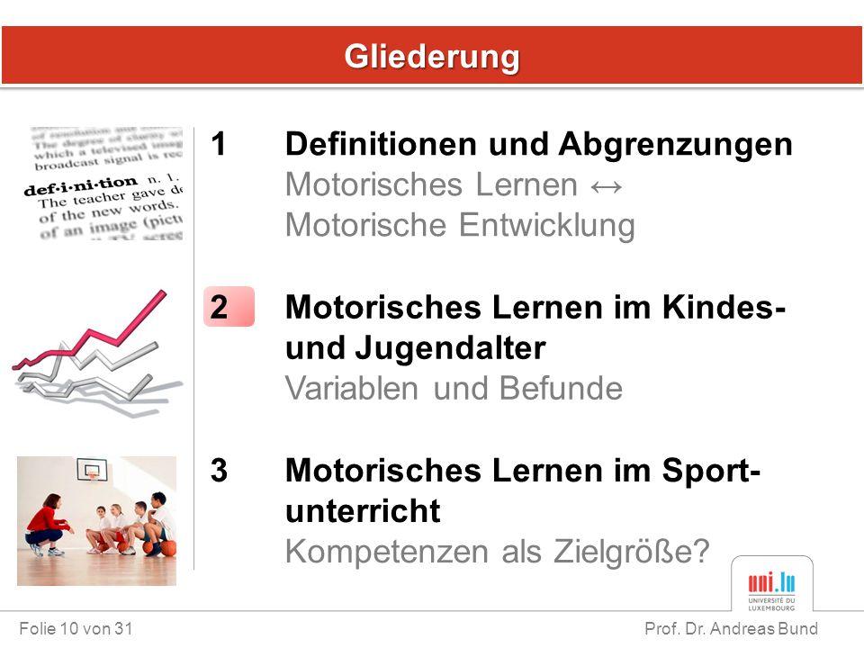 GliederungGliederung Folie 10 von 31 Prof. Dr. Andreas Bund 1 Definitionen und Abgrenzungen Motorisches Lernen ↔ Motorische Entwicklung 3 Motorisches