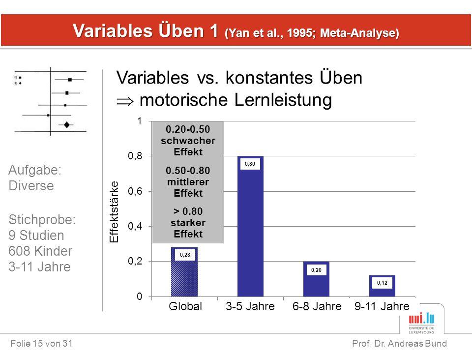 Variables Üben 1 (Yan et al., 1995; Meta-Analyse) Folie 15 von 31 Prof. Dr. Andreas Bund Variables vs. konstantes Üben  motorische Lernleistung Stich