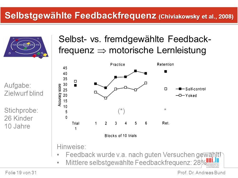 Selbstgewählte Feedbackfrequenz (Chiviakowsky et al., 2008) Folie 19 von 31 Prof. Dr. Andreas Bund Selbst- vs. fremdgewählte Feedback- frequenz  moto