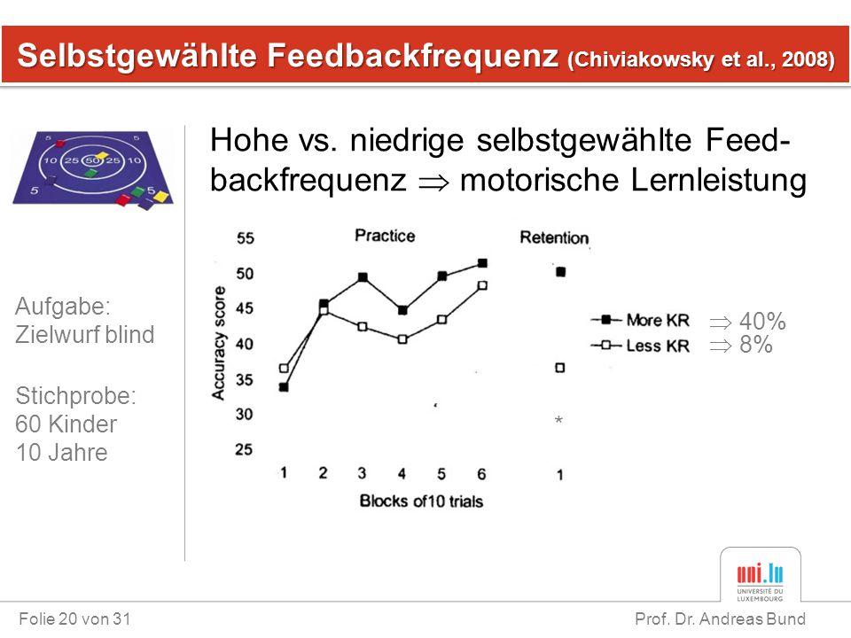 Selbstgewählte Feedbackfrequenz (Chiviakowsky et al., 2008) Folie 20 von 31 Prof. Dr. Andreas Bund Hohe vs. niedrige selbstgewählte Feed- backfrequenz