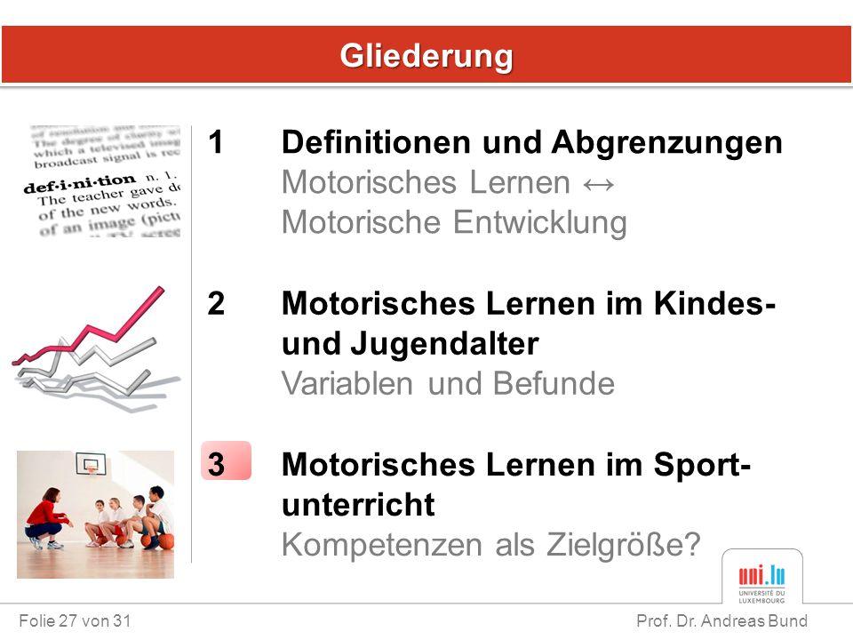GliederungGliederung Folie 27 von 31 Prof. Dr. Andreas Bund 1 Definitionen und Abgrenzungen Motorisches Lernen ↔ Motorische Entwicklung 3 Motorisches