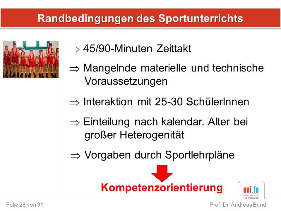 Randbedingungen des Sportunterrichts Folie 28 von 31 Prof. Dr. Andreas Bund  45/90-Minuten Zeittakt  Vorgaben durch Sportlehrpläne  Mangelnde mater