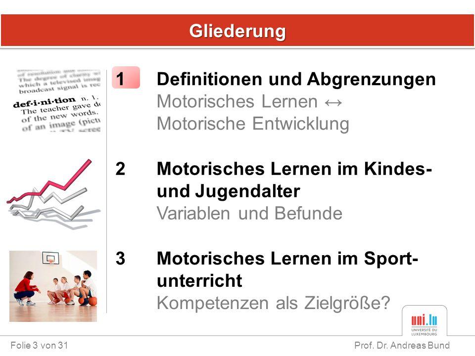 GliederungGliederung Folie 3 von 31 Prof. Dr. Andreas Bund 1 Definitionen und Abgrenzungen Motorisches Lernen ↔ Motorische Entwicklung 3 Motorisches L