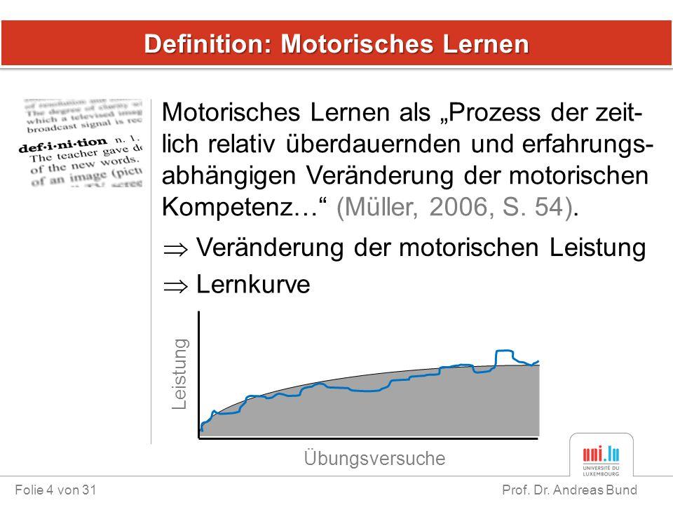 """Definition: Motorisches Lernen Motorisches Lernen als """"Prozess der zeit- lich relativ überdauernden und erfahrungs- abhängigen Veränderung der motoris"""