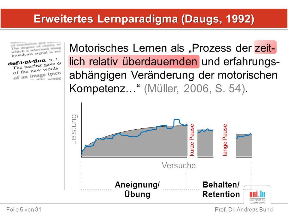 """Erweitertes Lernparadigma (Daugs, 1992) Motorisches Lernen als """"Prozess der zeit- lich relativ überdauernden und erfahrungs- abhängigen Veränderung de"""