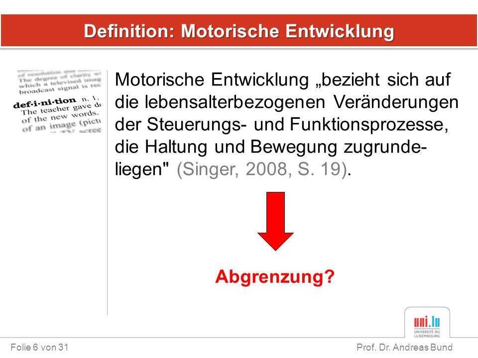 """Definition: Motorische Entwicklung Folie 6 von 31 Prof. Dr. Andreas Bund Motorische Entwicklung """"bezieht sich auf die lebensalterbezogenen Veränderung"""