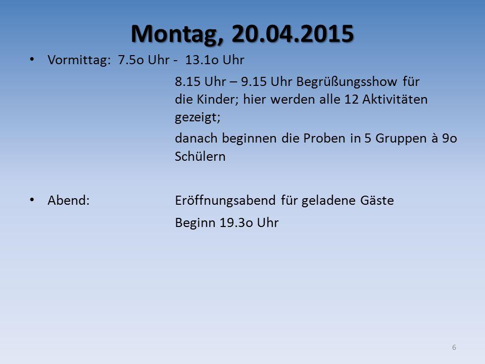 Montag, 20.04.2015 Vormittag: 7.5o Uhr - 13.1o Uhr 8.15 Uhr – 9.15 Uhr Begrüßungsshow für die Kinder; hier werden alle 12 Aktivitäten gezeigt; danach
